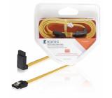 SATA datový kabel, 6 Gb/s, SATA 7-pin zásuvka – úhlová zásuvka 270°, 1 m, žlutý
