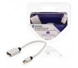 Mini DisplayPort kabel s adaptérem, Mini DisplayPort zástrčka – DisplayPort zásuvka, 0,2 m, bílý