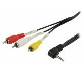 Propojovací AV kabel, jack 3,5 mm zástrčka – 3x RCA zástrčka, 2,00 m, černý