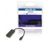 MHL redukční kabel, 5-pin zástrčka USB micro B - výstup HDMI + zásuvka USB micro B, 0,20 m, černý