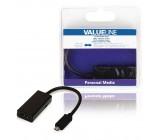 MHL redukční kabel, 11-pin zástrčka USB micro B - výstup HDMI + zásuvka USB micro B, 0,20 m, černý