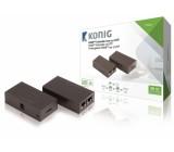 HDMI extender, vysílač HDMI – přijímač HDMI, 2x kabel CAT5e/6, 30 m, tmavě šedý