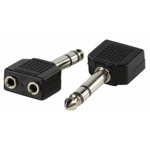 Adaptér s 6,35 mm stereozástrčkou a dvoma 3,5 mm stereozásuvkami