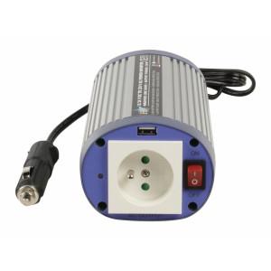 Měnič napětí 24 - 230 V 150 W s USB, zásuvka CZ