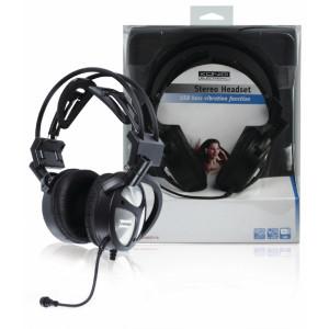 USB stereo headset, podpora vibrací