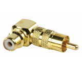 Adapter plug angled RCA plug to RCA socket (GOLD)