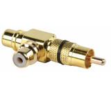 Adapter plug RCA plug to double RCA socket (GOLD) black