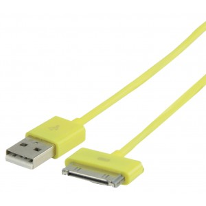 Kabel usb a - iphone, ipad, ipod 30pin, žlutý 1m - valueline