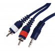 Kabel jack 3.5 stereo -<gt/>2x cinch l/r, 6m/0.35mm