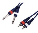 Kabel 2x jack mono -<gt/>2x cinch, 3m/0.35mm
