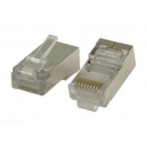 Konektor RJ45 pro STP CAT5 kabely s drátovými vodiči 10 ks