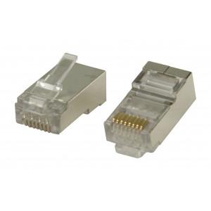 Konektory RJ45 pro STP CAT6 kabely s drátovými vodiči 10 ks