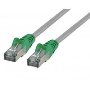Křížený síťový kabel FTP CAT 6, 1 m, šedý/zelený