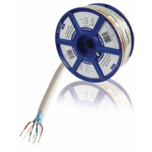 Síťový kabel s drátovými vodiči CAT5e F/UTP na cívce, 100,0 m, šedý