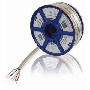 Síťový kabel s lankovými vodiči CAT6 UTP na cívce, 100,0 m, šedý