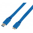 Plochý kabel zástrčka USB 3.0 A – zástrčka USB micro B, 1,00 m
