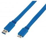 Plochý kabel zástrčka USB 3.0 A – zástrčka USB micro B, 3,00 m