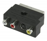 Přepínací SCART AV adaptér, zástrčka SCART – 3× zásuvka RCA + zásuvka S-Video, černý