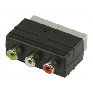 SCART adaptér s RCA výstupem, SCART 21p zástrčka - 3x RCA zásuvka, černý