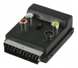 Přepínací SCART AV adaptér, zástrčka SCART – zásuvka SCART + 3× zásuvka RCA + zásuvka S-Video, černý