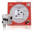 Cestovní adaptér World Adapter s uzemněnými zástrčkami bez krytu Schuko, bílý
