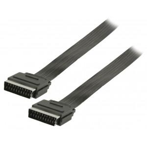 Plochý kabel SCART, zástrčka SCART – zástrčka SCART, 1,00 m, černý