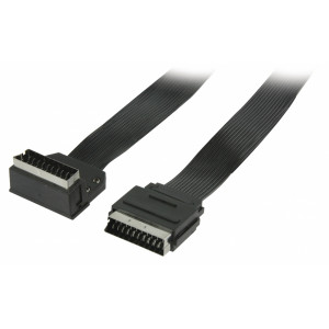 Plochý kabel SCART, zástrčka SCART – zástrčka SCART úhlová 90°, 2,00 m, černý
