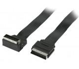 Plochý kabel SCART, zástrčka SCART – zástrčka SCART úhlová 270°, 1,00 m, černý