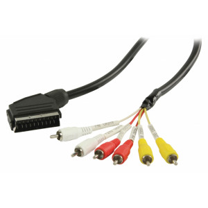 Kabel SCART – RCA, zástrčka SCART – 6× zástrčka RCA, 1,00 m, černý