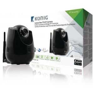 Interiérová IP kamera pro vzdálené sledování s funkcí otáčení/náklonu, černá