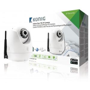 Interiérová IP kamera pro vzdálené sledování s funkcí otáčení/náklonu, bílá