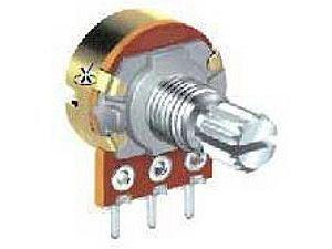 Potenciometr otočný kovový16mm 25k/N oska 6mm 30mm