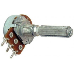 Potenciometr otočný kovový16mm 100k/N oska 6/20mm drážkovaná