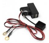 USB zásuvka pro motocykl na řídítka s krytkou a kabelem