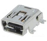 Zásuvka USB B mini SMT 5 PIN vodorovné