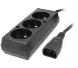 Kabel CEE 7/5 (E) zásuvka, IEC C14 vidlice 0,3m Zásuvky:3