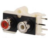 Zásuvka RCA zásuvka patrové úhlové 90° THT Počet konektorů:2