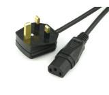 Kabel BS 1363 (G) vidlice IEC C13 zásuvka 2m černá PVC 3A