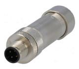 Konektor M12 zástrčka vidlice 4 PIN pružinová svorka přímý