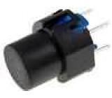 Mikrospínač 1-polohové SPST-NO 0,01A/30VDC THT 1,3N Ø12mm