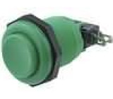 Přepínač mikrospínač bez aretace SPDT 10A/250VDC Ø:23,6mm zelený