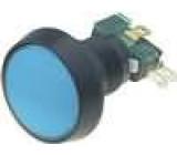Přepínač mikrospínač bez aretace SPDT 10A/250VAC LED 12VDC modrý