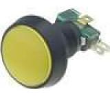 Přepínač mikrospínač bez aretace SPDT 10A/250VAC LED 12VDC žlutý
