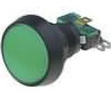 Přepínač mikrospínač bez aretace SPDT 10A/250VAC LED 24 VDC zelený