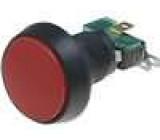 Přepínač mikrospínač bez aretace SPDT 10A/250VAC LED 24 VDC červený