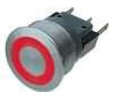 Přepínač odolný vandalům bez aretace červené podsvícení 24V SPDT 3A/250VAC IP40 22mm