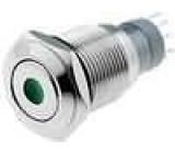 Přepínač odolný vandalům bez aretace středová   kontrolka LED 24V 3A/250VAC ON-(ON) IP67 16mm