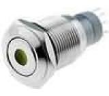 Přepínač odolný vandalům bez aretace   středová LED kontrolka 24V 3A/250VAC ON-(ON) IP67 16mm