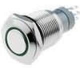 Přepínač odolný vandalům bez aretace 16mm 24V LED zelený 3A/250VAC ON-(ON)