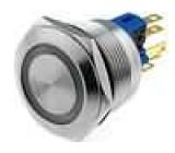 Přepínač odolný vandalům bez aretace SPST-NO + SPST-NC IP65   LED 24V 22mm